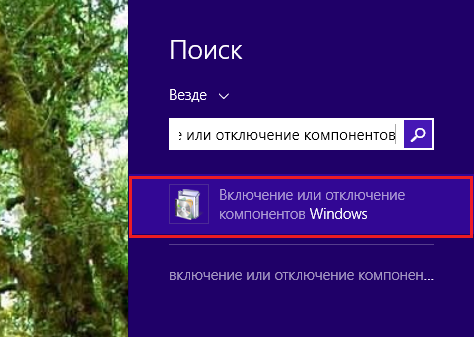 включение и отключение компонентов windows 8